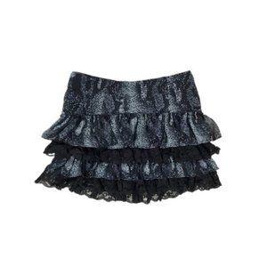 GUESS Snakeskin Ruffle Tiered Mini skirt